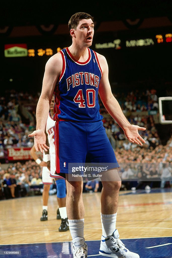 <a gi-track='captionPersonalityLinkClicked' href=/galleries/search?phrase=Bill+Laimbeer&family=editorial&specificpeople=213835 ng-click='$event.stopPropagation()'>Bill Laimbeer</a> #40 of the Detroit Pistons reacts against the New York Knicks circa 1991 at Madison Square Garden in New York.