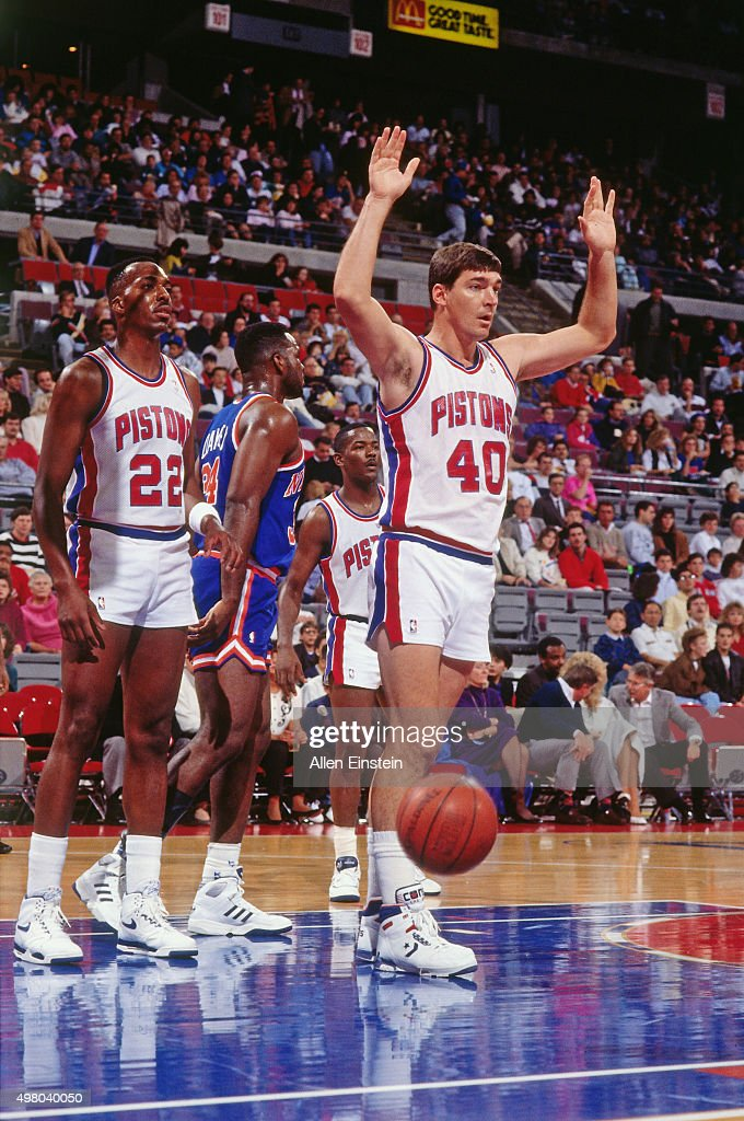 <a gi-track='captionPersonalityLinkClicked' href=/galleries/search?phrase=Bill+Laimbeer&family=editorial&specificpeople=213835 ng-click='$event.stopPropagation()'>Bill Laimbeer</a> #40 of the Detroit Pistons reacts against the New York Knicks circa 1990 at the Palace of Auburn Hills in Auburn Hills, Michigan.