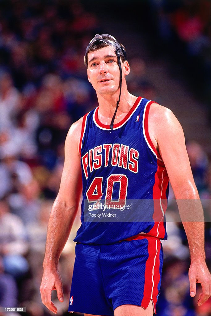 <a gi-track='captionPersonalityLinkClicked' href=/galleries/search?phrase=Bill+Laimbeer&family=editorial&specificpeople=213835 ng-click='$event.stopPropagation()'>Bill Laimbeer</a> #40 of the Detroit Pistons reacts to a call during a game against the Sacramento Kings played on December 8, 1990 at Arco Arena in Sacramento, California.