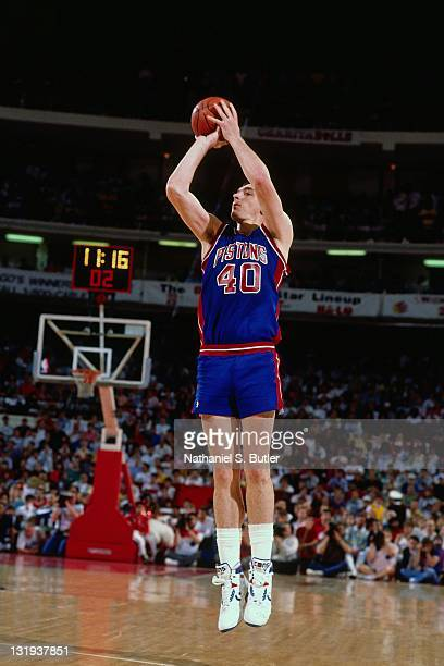 Bill Laimbeer of the Detroit Pistons shoots during a game played circa 1989 at Madison Square Garden in New York City NOTE TO USER User expressly...