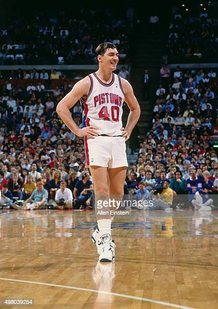 Bill Laimbeer of the Detroit Pistons stands circa 1990 at the Palace of Auburn Hills in Auburn Hills Michigan NOTE TO USER User expressly...