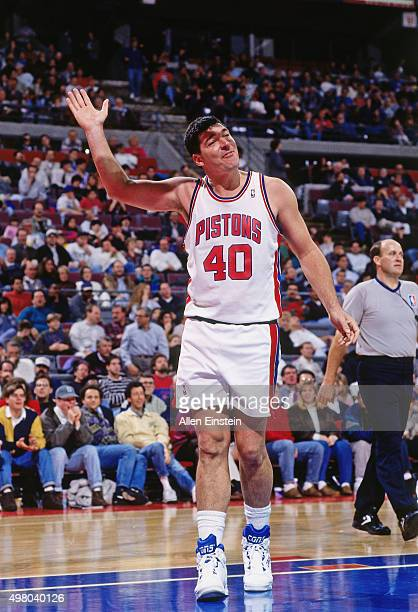 Bill Laimbeer of the Detroit Pistons waves to the crowd circa 1990 at the Palace of Auburn Hills in Auburn Hills Michigan NOTE TO USER User expressly...