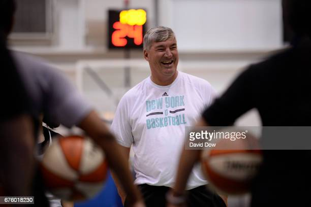 Bill Laimbeer of the New York Liberty smiles and laughs during practice on May 1 2017 at the MSG Training Center in Tarrytown New York NOTE TO USER...