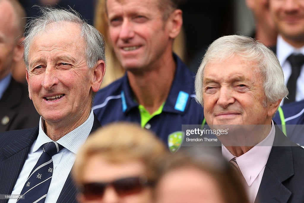 Bill Lawry and Richie Benaud attend the Tony Greig memorial service at Sydney Cricket Ground on January 20, 2013 in Sydney, Australia.