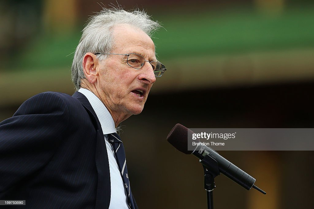 Bill Lawry speaks on stage during the Tony Greig memorial service at Sydney Cricket Ground on January 20, 2013 in Sydney, Australia.