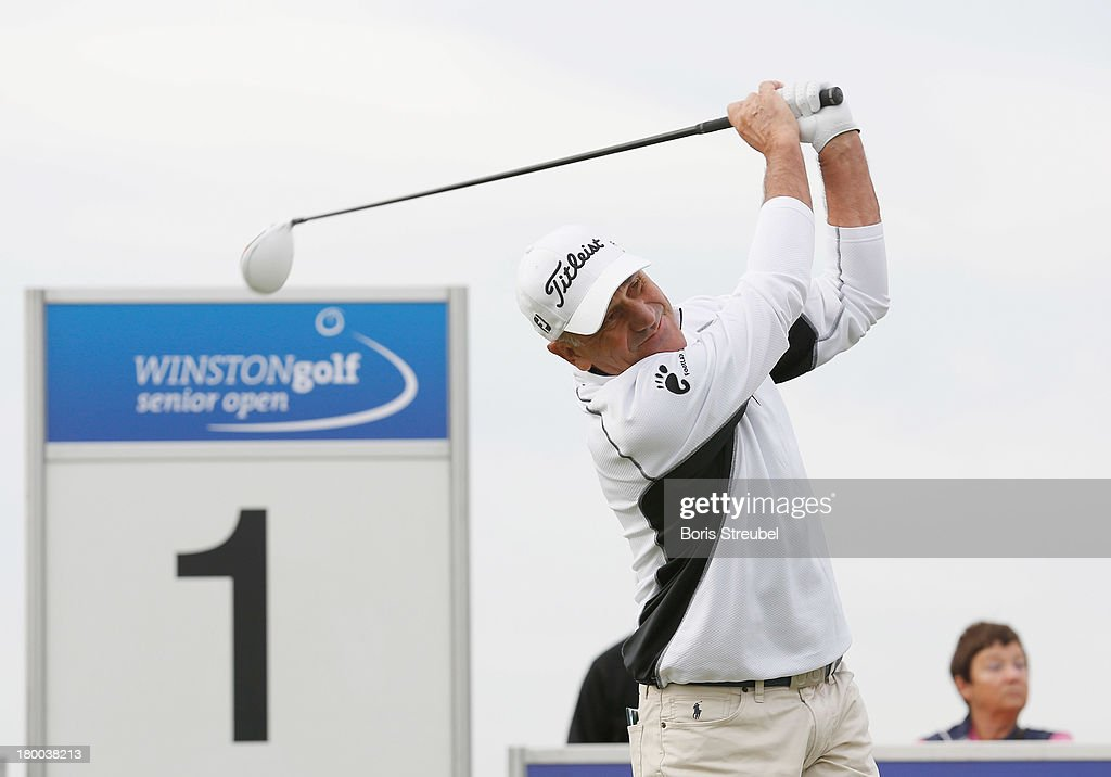 Bill Longmuir of Scottland hits a drive of the first tee during the final round on day three of the WINSTONgolf Senior Open played at WINSTONgolf on September 8, 2013 in Schwerin, Germany.