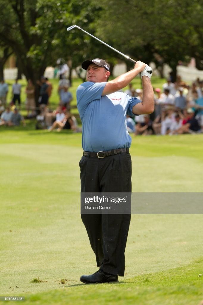 Bill Lunde follows through on a shot during the first round of the HP Byron Nelson Championship at TPC Four Seasons Resort Las Colinas on May 20, 2010 in Irving, Texas.