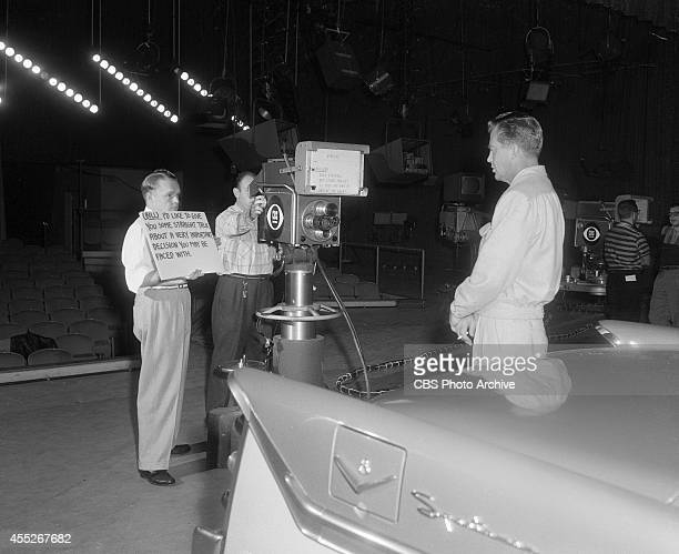 Bill Lundigan speaking into the camera at CBS's Television City Los Angeles Calfornia Image dated November 17 1955