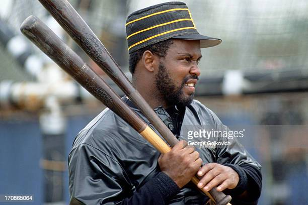 Bill Madlock of the Pittsburgh Pirates looks on from the field during batting practice before a Major League Baseball spring training game at the...