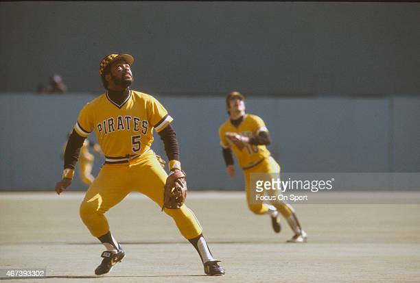 Bill Madlock of the Pittsburgh Pirates tracks a popup during an Major League Baseball game circa 1979 at Three Rivers Stadium in Pittsburgh...