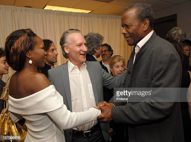 Bill Maher and Sidney Poitier during Barbra Streisand in Concert at the Staples Center Backstage and Audience at Staples Center in Los Angeles...