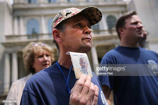 Bill Maher who lost his cousin Edward Keane on 9/11 attends a news conference with other family members on the steps of City Hall to criticize the...