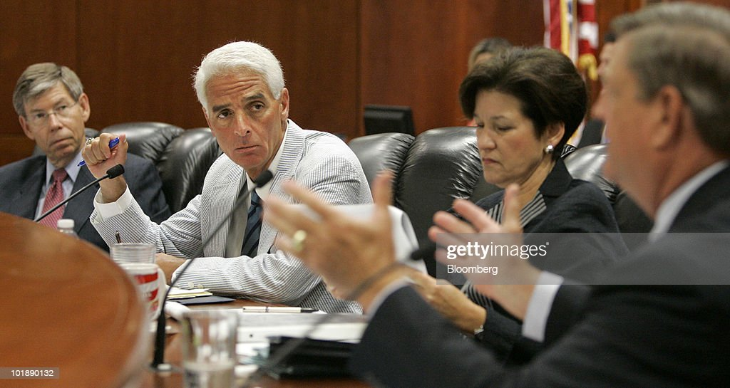 Bill, McCollum, Attorney General Of Florida, Left,, Governor Charlie Crist,