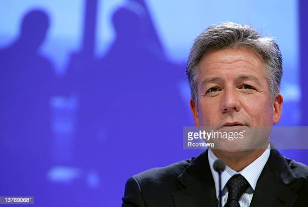 Bill McDermott cochief executive officer of SAP AG speaks during a news conference in Frankfurt Germany on Wednesday Jan 25 2012 SAP AG the biggest...