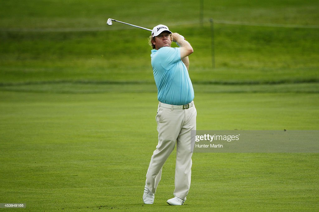 Bill McGirt plays a shot on the ninth hole during the first round of The Barclays at The Ridgewood Country Club on August 21, 2014 in Paramus, New Jersey.