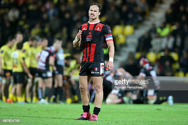 Bill Meakes for Gloucester gestures during the European Rugby Challenge Cup match between La Rochelle and Gloucester at Stade Marcel Deflandre on...