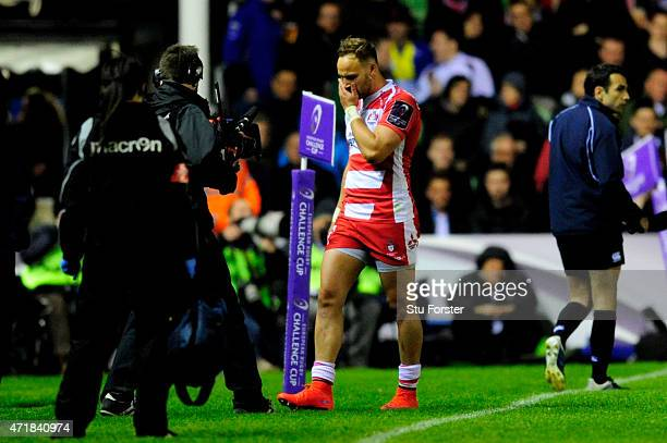 Bill Meakes of Gloucester walks ooif the pitch after being shown the red card during the European Rugby Challenge Cup Final match between Edinburgh...
