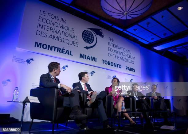 Bill Morneau Canada's finance minister from second left Patricia Scotland secretary general of the Commonwealth of Nations Thierry Breton chairman...