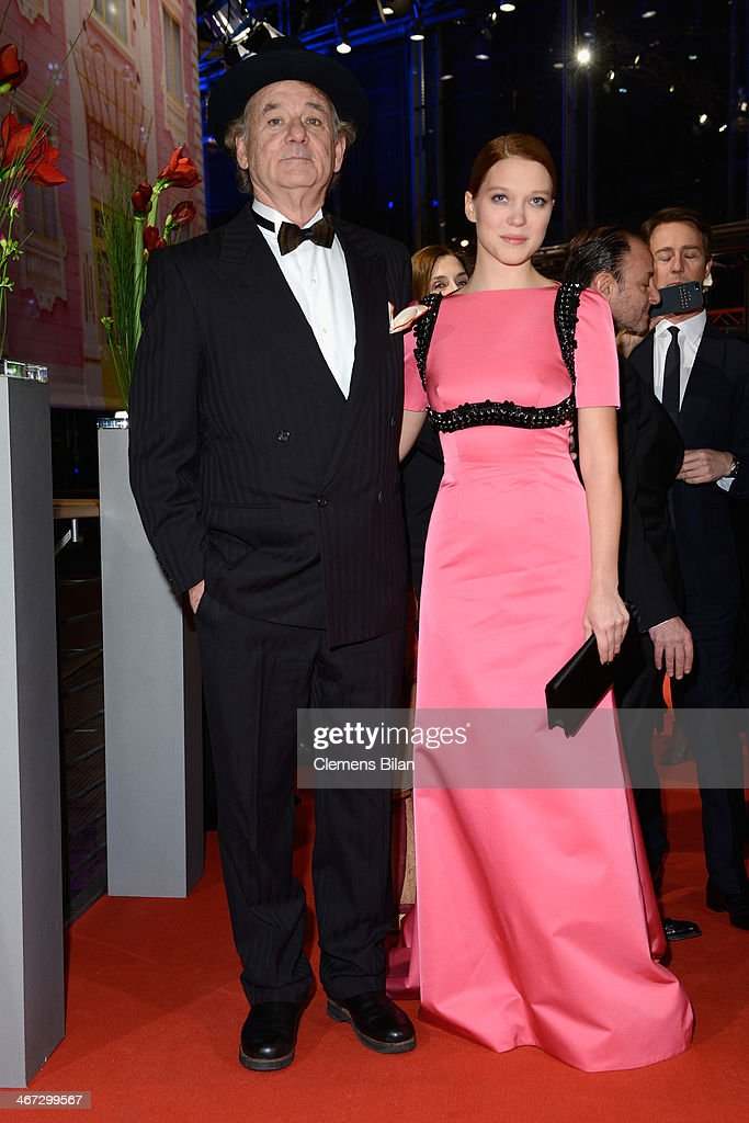 <a gi-track='captionPersonalityLinkClicked' href=/galleries/search?phrase=Bill+Murray&family=editorial&specificpeople=171116 ng-click='$event.stopPropagation()'>Bill Murray</a> and Lea Seydoux attend 'The Grand Budapest Hotel' Premiere during the 64th Berlinale International Film Festival at Berlinale Palast on February 6, 2014 in Berlin, Germany.