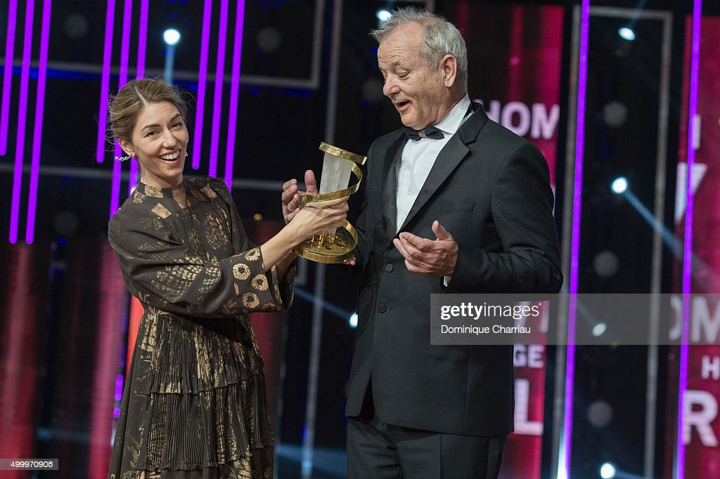 Bill Murray and Sofia Coppola attend the Tribute To Bill Murray during the 15th Marrakech International Film Festival on December 4 2015 in Marrakech...