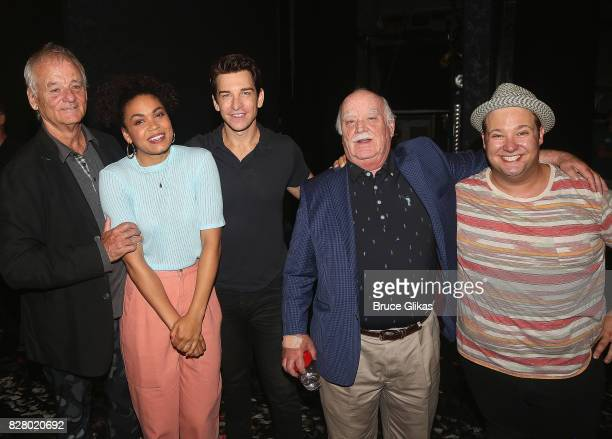 Bill Murray Barrett Doss who plays Rita Andy Karl Brian Doyle Murray and Josh Lamon pose backstage at the hit musical based on the 1993 Bill Murray...
