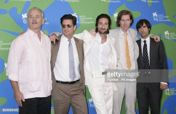 Bill Murray cowriter Roman Coppola Adrien Brody director Wes Anderson and Jason Schwartzman during a photocall for the film 'The Darjeeling Limited'...