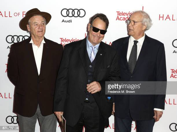 Bill Murray Dan Aykroyd and Chevy Chase attend the Television Academy's 24th Hall of Fame Ceremony at the Saban Media Center on November 15 2017 in...