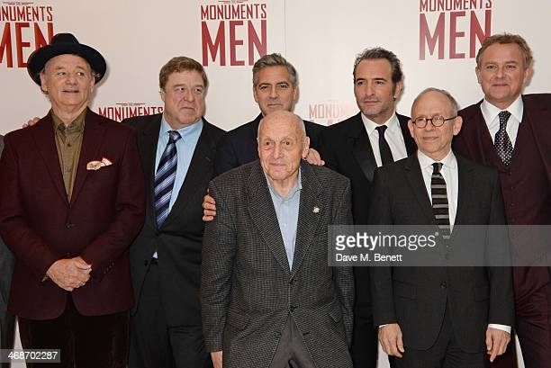 Bill Murray John Goodman George Clooney Surviving Monuments Man Harry Ettlinger Jean Dujardin Bob Balaban and Hugh Bonneville attend the UK Premiere...