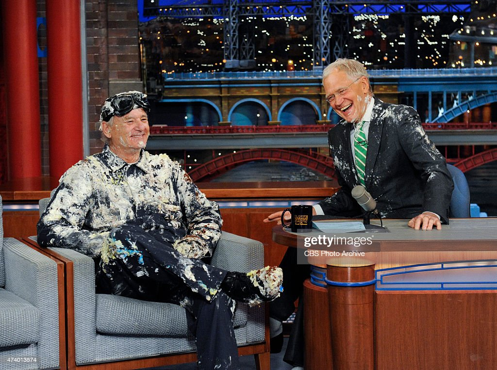 Bill Murray jumps out of giant cake, when he makes his final appearance on the Late Show with David Letterman, Tuesday May 19, 2015 on the CBS Television Network.