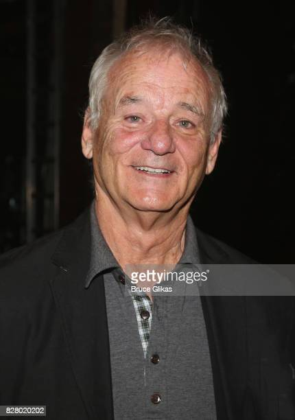 Bill Murray poses backstage at the hit musical based on the 1993 Bill Murray film 'Groundhog Day' on Broadway at The August Wilson Theatre on August...