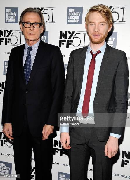 Bill Nighy and Domnhall Gleeson attend the 'About Time' premiere during the 51st New York Film Festival at Alice Tully Hall at Lincoln Center on...