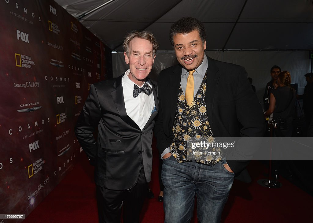 <a gi-track='captionPersonalityLinkClicked' href=/galleries/search?phrase=Bill+Nye&family=editorial&specificpeople=1016855 ng-click='$event.stopPropagation()'>Bill Nye</a> and Neil deGrasse Tyson attend the premiere of Fox's 'Cosmos: A SpaceTime Odyssey' at The Greek Theatre on March 4, 2014 in Los Angeles, California.