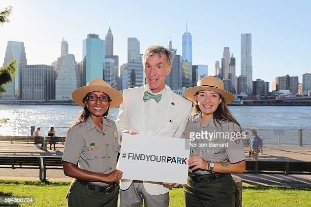 Bill Nye joins National Park Service Rangers for a photo during the National Park Foundation's #FindYourPark event celebrating the National Park...