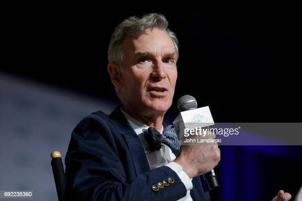 Bill Nye speaks during the ' Real Science Big Adventure Bill Nyethe ScienceGuy's New Series for Kids' panel at the BookCon 2017 at Javits Center on...