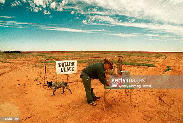 Bill o'conner casts his vote on his 408000 acre property named Narriearra about 60kms outside of the town of Tibooburra The mobile polling booth has...