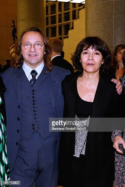 Bill Pallot and 'galeriste' Nathalie Obadia attend AROP Gala at Opera Bastille with a representation of 'Aida' on October 15 2013 in Paris France