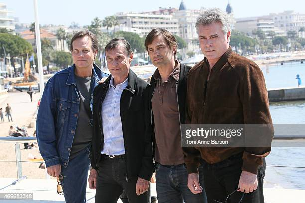 Bill Paxton Rolland Joffe Olivier Martinez and Ray Liotta attend Texas Rising Photocall as part of MIPTV 2015 on April 13 2015 in Cannes France