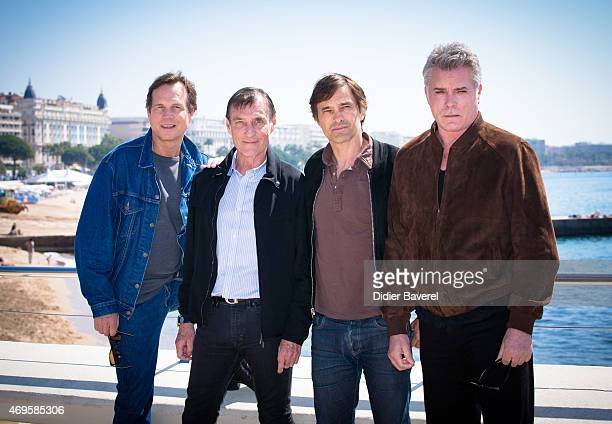 Bill Paxton Rolland Joffe Olivier Martinez and Ray Liotta pose during the 'Texas Rising' photocall at MIPTV on April 13 2015 in Cannes France