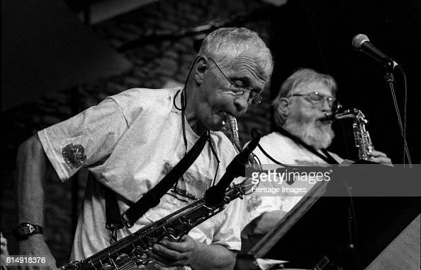 Bill Perkins and Bud Shank Brecon Jazz Festival Brecon Powys Wales August 2000 Artist Brian O'Connor