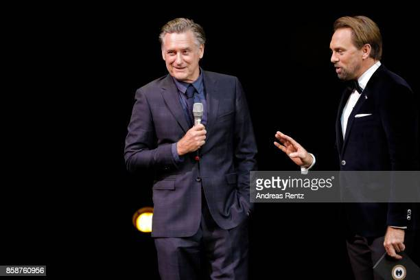Bill Pullman and Steven Gaetjen speak on stage during the Award Night Ceremony during the 13th Zurich Film Festival on October 7 2017 in Zurich...