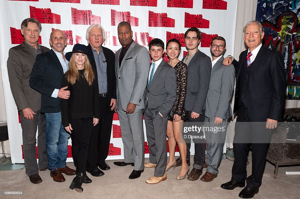 Bill Pullman, director Scott Elliott, Holly Hunter, playwright David Rabe, Morocco Omari, Raviv Ullman, Nadia Gan, Ben Schnetzer, The New Group executive director Adam Bernstein, and Richard Chamberlain attend the 'Sticks and Bones' opening night after party at KTCHN Restaurant on November 6, 2014 in New York City.