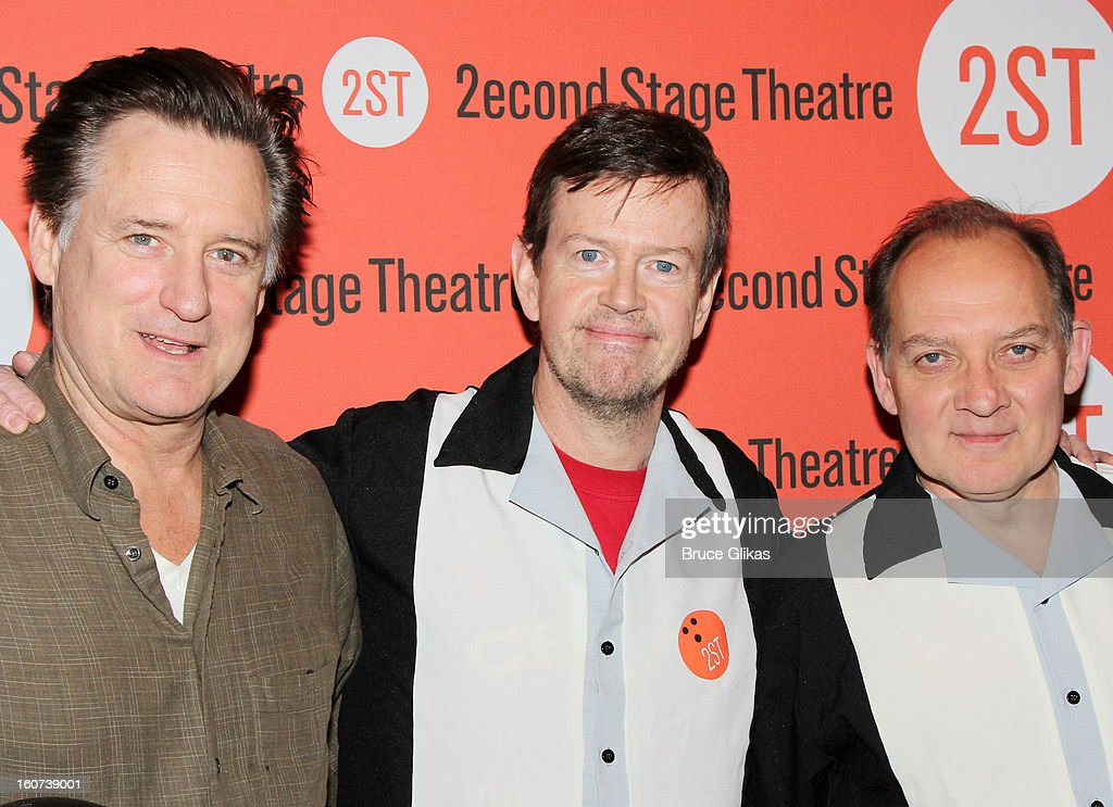 Bill Pullman, Dylan Baker and Zach Grenier pose at Second Stage Theatre's 26th Annual All-Star Bowling Classic at Lucky Strike on February 4, 2013 in New York City.
