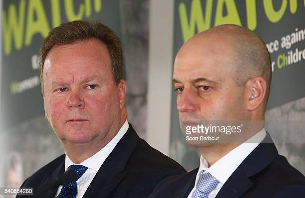 Bill Pulver CEO ARU and Todd Greenberg CEO NRL speak during a 'Our Watch' media opportunity at the Melbourne Cricket Ground on June 17 2016 in...