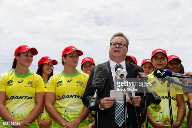 Bill Pulver CEO of Australian Rugby Union addresses the media during an Australian Women's Sevens media opportunity at Goldstein Reserve on February...