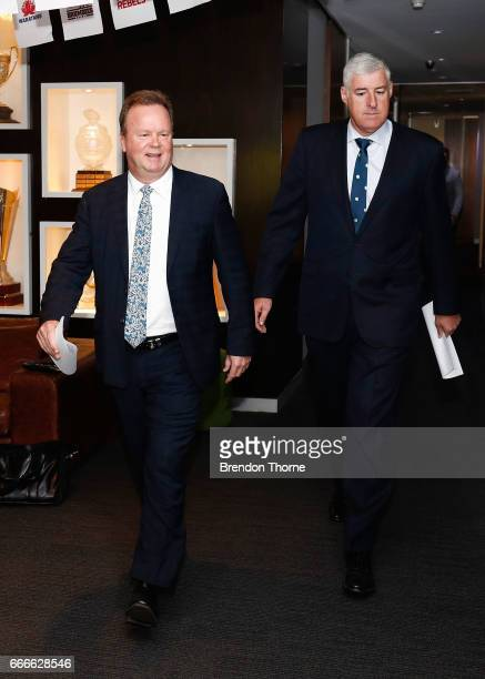Bill Pulver CEO of Australian Rugby Union and Cameron Clyne Chairman of Australian Rugby Union walk to a ARU press conference at ARU HQ on April 10...