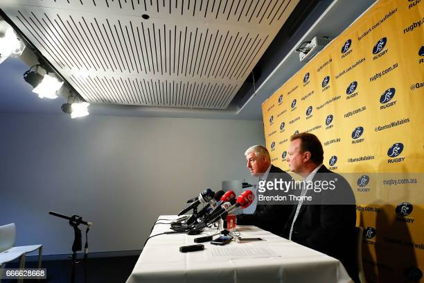 Bill Pulver CEO of Australian Rugby Union and Cameron Clyne Chairman of Australian Rugby Union speak to the media during an ARU press conference at...