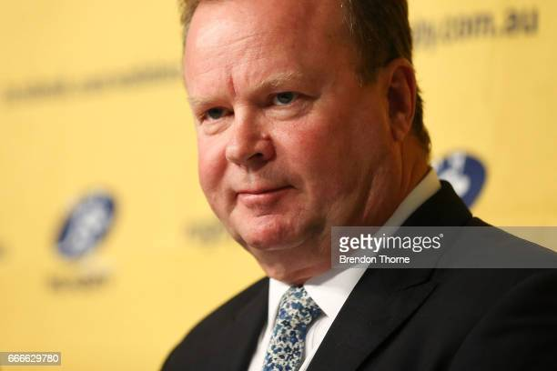 Bill Pulver CEO of Australian Rugby Union speaks to the media during an ARU press conference at ARU HQ on April 10 2017 in Sydney Australia