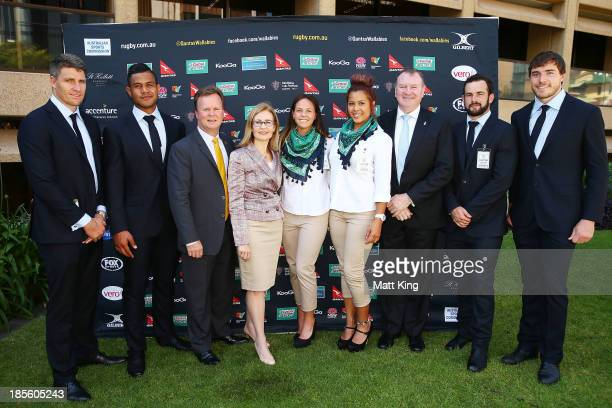 ARU CEO Bill Pulver NSW Minister for Sport and Recreation Gabrielle Upton and New South Wales Legislative Assembly member Stephen Bromhead pose with...