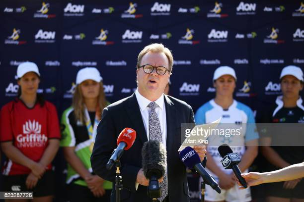 Bill Pulver speaks during the AON Women's University Sevens Launch at Macquarie Uni on July 27 2017 in Sydney Australia