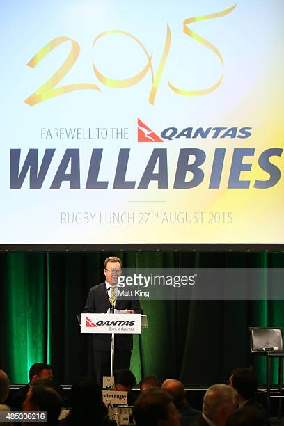 Bill Pulver speaks during the Australia Rugby World Cup farewell lunch and fan day at The Westin Hotel on August 27 2015 in Sydney Australia